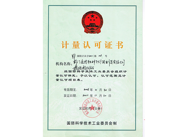 Metrology Accreditation Certificate