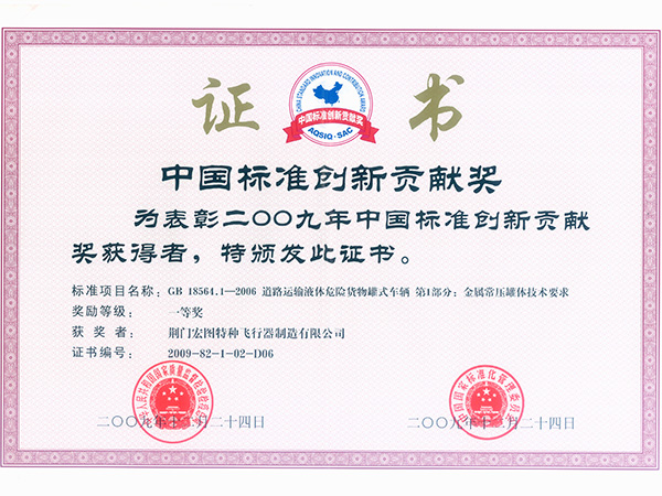 Chinese Standard Innovation Prize Certificate